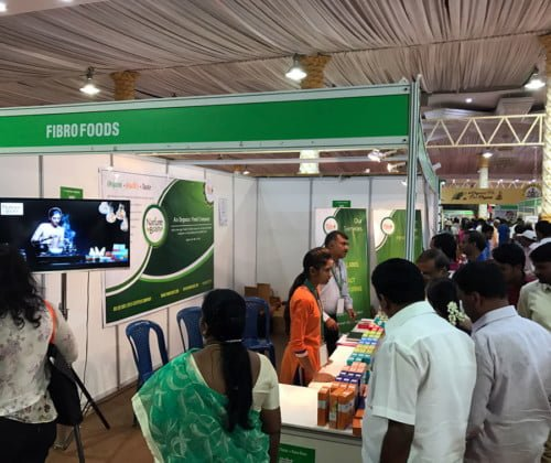 Customers visiting Fibro Foods at Organics and Millets National Trade Fair