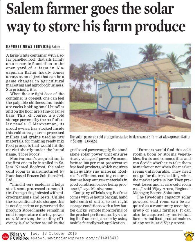 Solar-Cold-Storage-News-Indian-Express